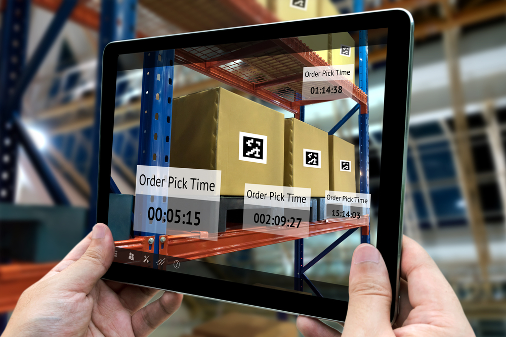 Tablet with augmented reality application for check order pick time in smart factory.
