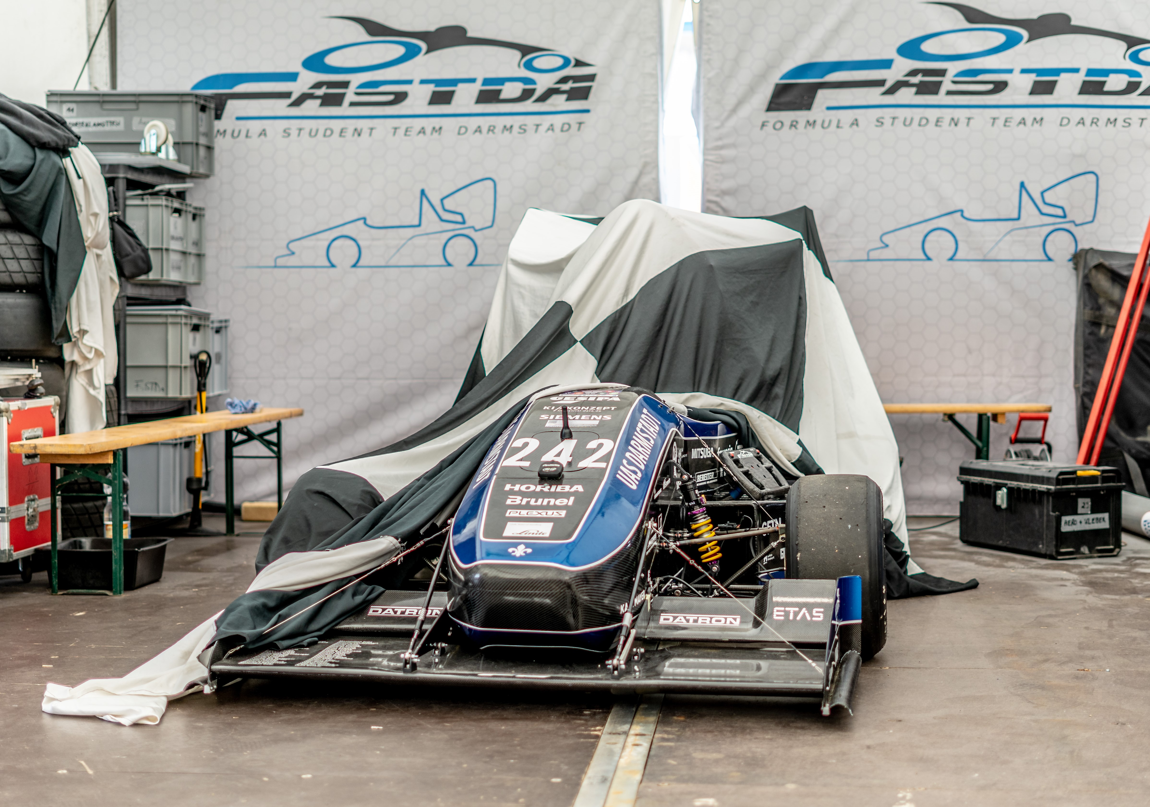 "The ""Pit,"" the maintenance box of the F19 at the Formula Student Germany in Hockenheim"