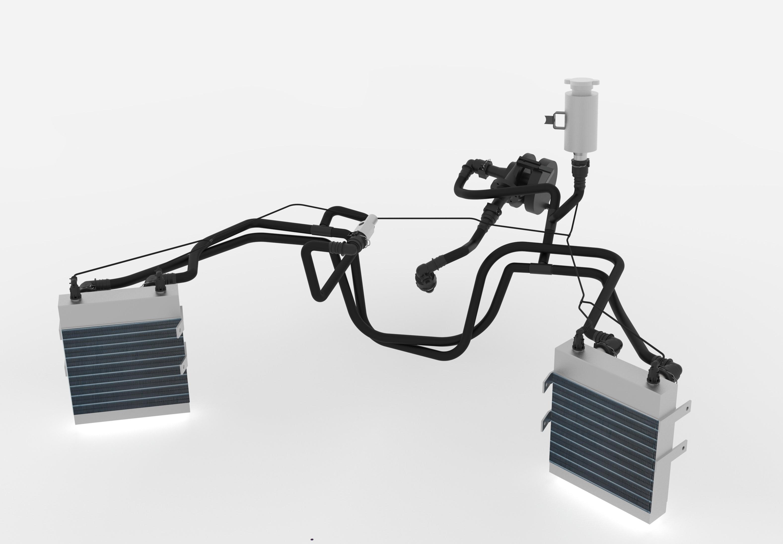Das Kühlleitungssystem des F19 besteht aus thermoplastischen NORMAFLEX-Leitungen und Steckverbindern