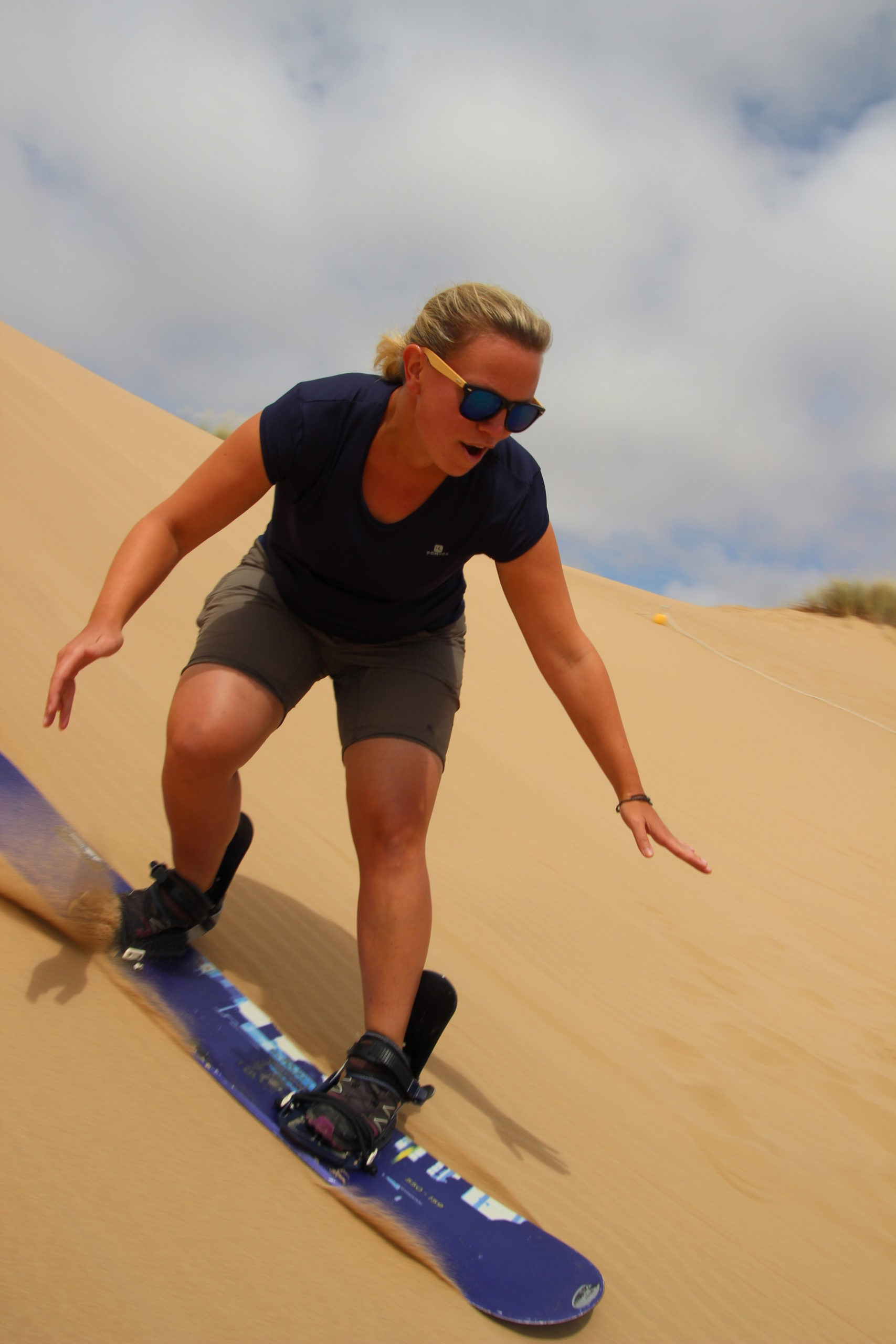 Ricarda tried sandboarding for the first time in South Africa