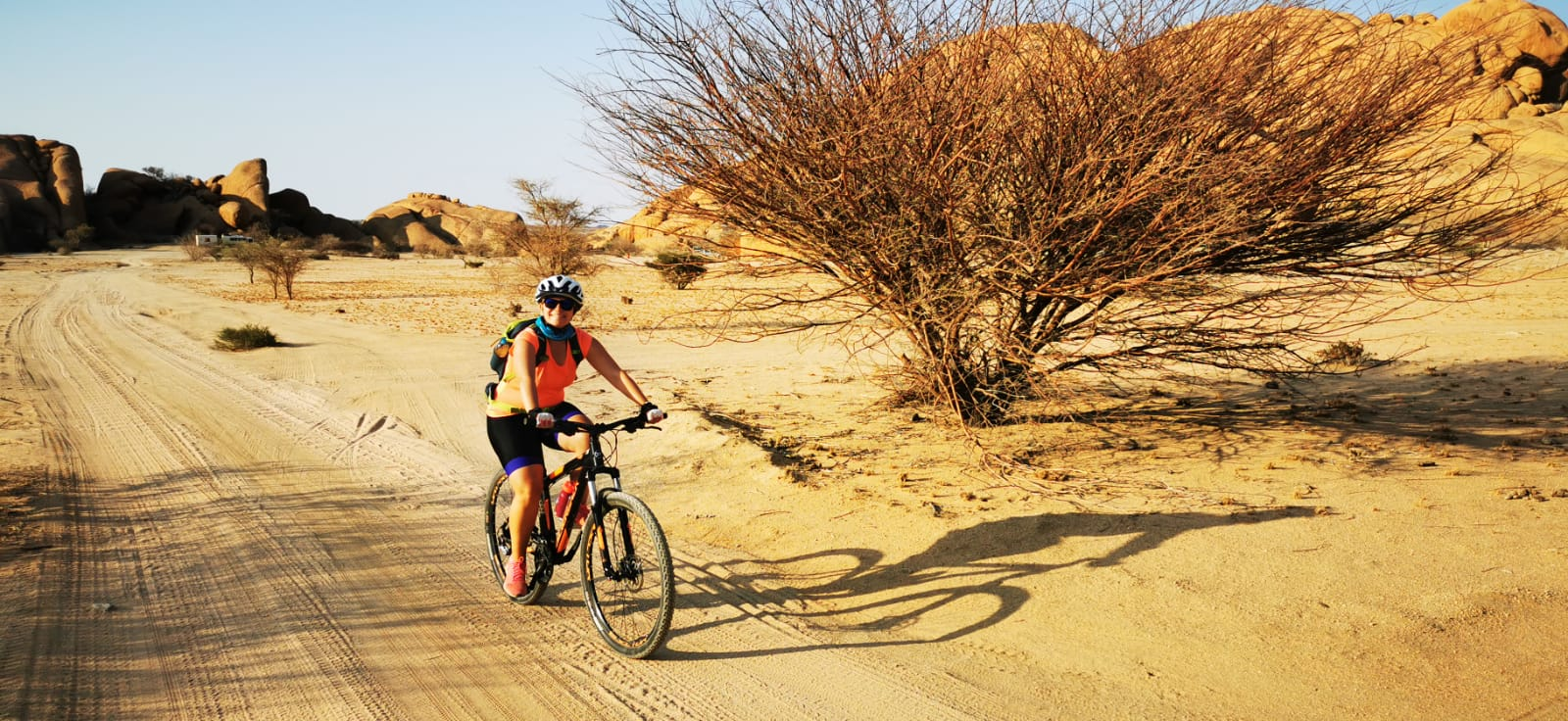 Ricarda during a mountain bike trip through Namibia