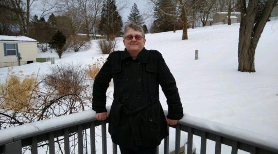 Frau, Balkon, Schnee